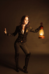Woman with oil lamp