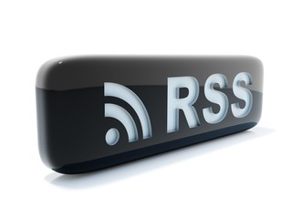 Glossy black rss icon isolated on white