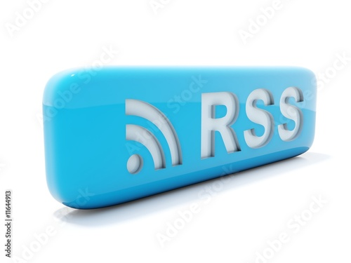 Glossy blue rss icon isolated on white