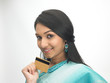 Indian woman holding credit card