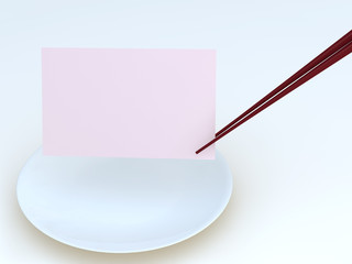 chopstick,dish and memo