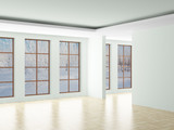 Empty room. Landscape behind the open window. 3D image