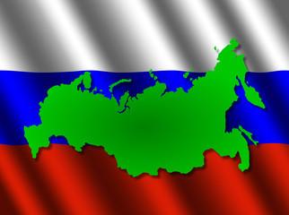 Russia map on rippled flag illustration