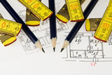 Pencil and ruler on the architectural plan