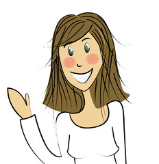 femme brune souriante