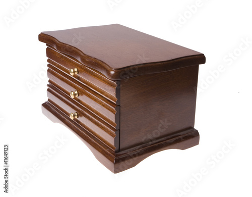 wooden box from drawers on jewellery