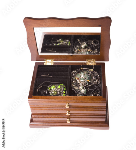 open wooden box from drawers on jewellery