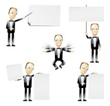 business people with blank cards poster