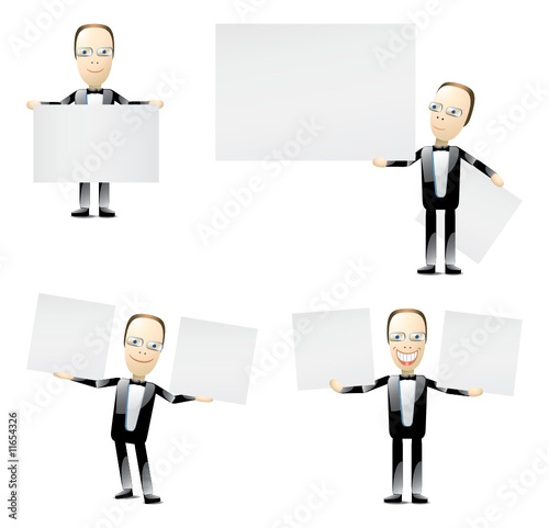mature manager with blank cards