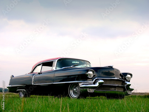 Poster Oude auto s American Classic - Black 1950s Car