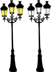 Vector illustration of Glowing retro street lamp