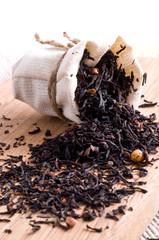 raw tea in small sack