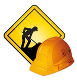 Hardhat and construction sign poster