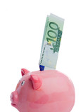 Saving a note of one hundred euros in a piggy-bank poster
