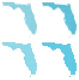 Florida (USA) map mosaic set. Isolated on white background.