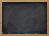 blank blackboard with white chalk eraser smudges poster