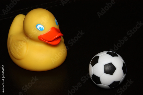Rubber duck with soccer ball