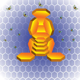 Throne made from hexagonal wax cells poster