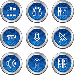 Media web icons, blue electronics buttons series