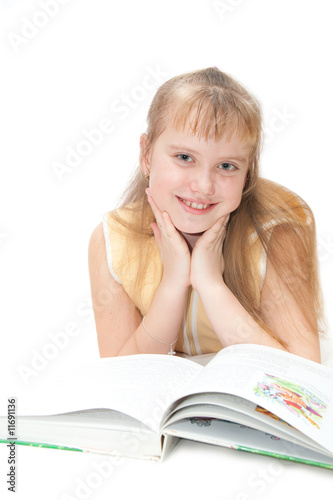 girl rading book isolated on white