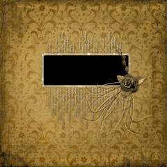 Grunge frame on the ancient ornament background with bunch