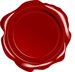 Red vector wax seal on white background