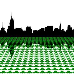 Manhattan skyline with shamrocks