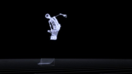 Xray of human skeleton jumping with skateboard