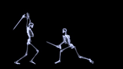 Xray of 2 human skeleton fighting in a sword combat