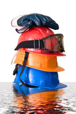 Many colored hardhats, gloves and goggles poster