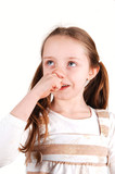 Girl with finger in nose. poster