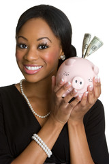 Smiling Woman With Piggy Bank