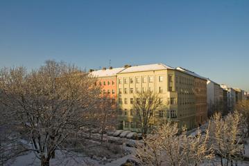 Häuser im Prenzlauer Berg Berlin im Winter