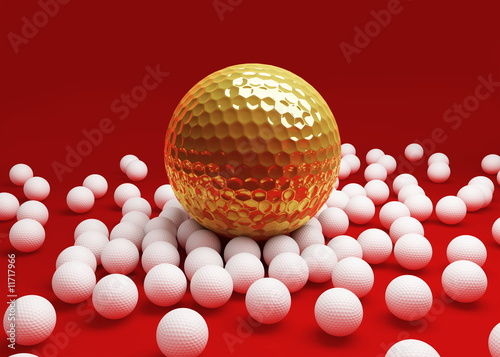 ball for golf on a red background