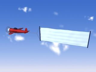 avión con cartel