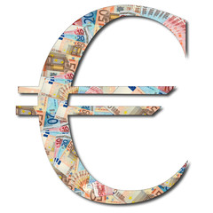 Euro sign in money