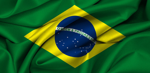 Brazilian flag waving on satin texture