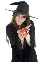Witch treading us on a apple