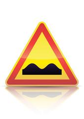 Panneau de danger temporaire dos d'âne (reflet métal)
