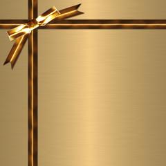 金色のリボンとメタルの背景