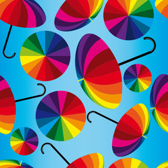 Seamless vector background with funny umbrellas