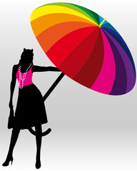 Woman with a large umbrella
