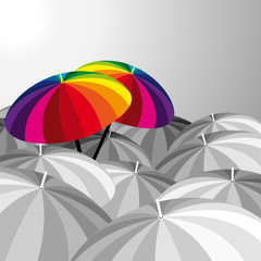 Funny umbrellas - vector illustration