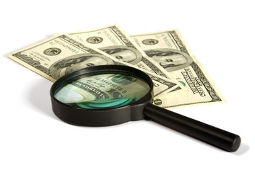 dollars bond under a magnifying glass