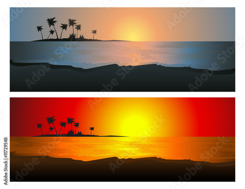 canvas print picture Tropical sunset set