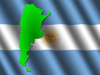 Argentina map on rippled flag