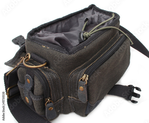 Black photo bag isolated on white