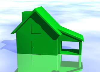 Green House on Blue-Sky Concept Environmental Living