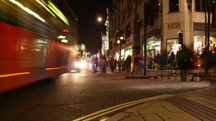 night timelapse of london oxford st