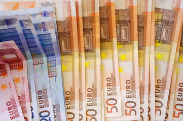 background from euro banknotes